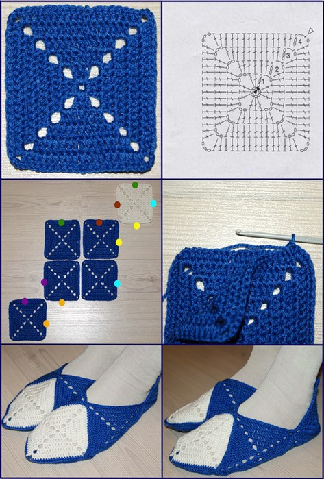 Схема вязания носков из квадратов 92
