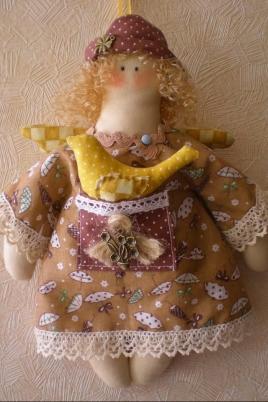 Текстильный ангелочек постер