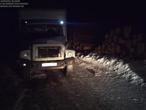 В Марий Эл грузовик съехал в кювет и врезался в бревенчатый вал