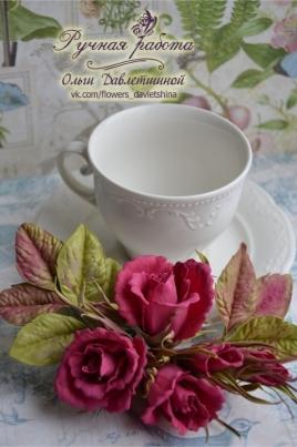 Веточка кустовой розы из пластичной замши постер
