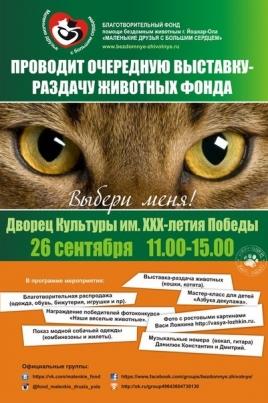 Выставка-раздача животных постер