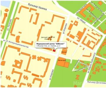 Схема проезда Медицинского центра на Кирова