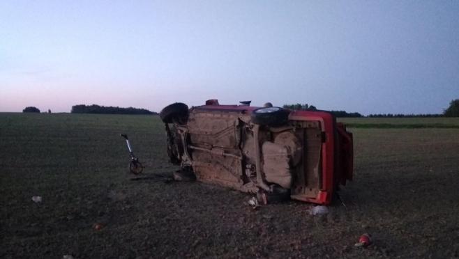 В Оршанском районе пьяный водитель на иномарке перевернулся  в кювет