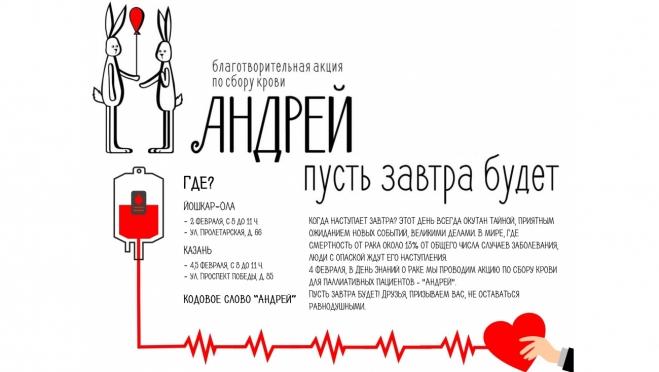 В Йошкар-Оле пройдёт донорская акция в поддержку онкобольных
